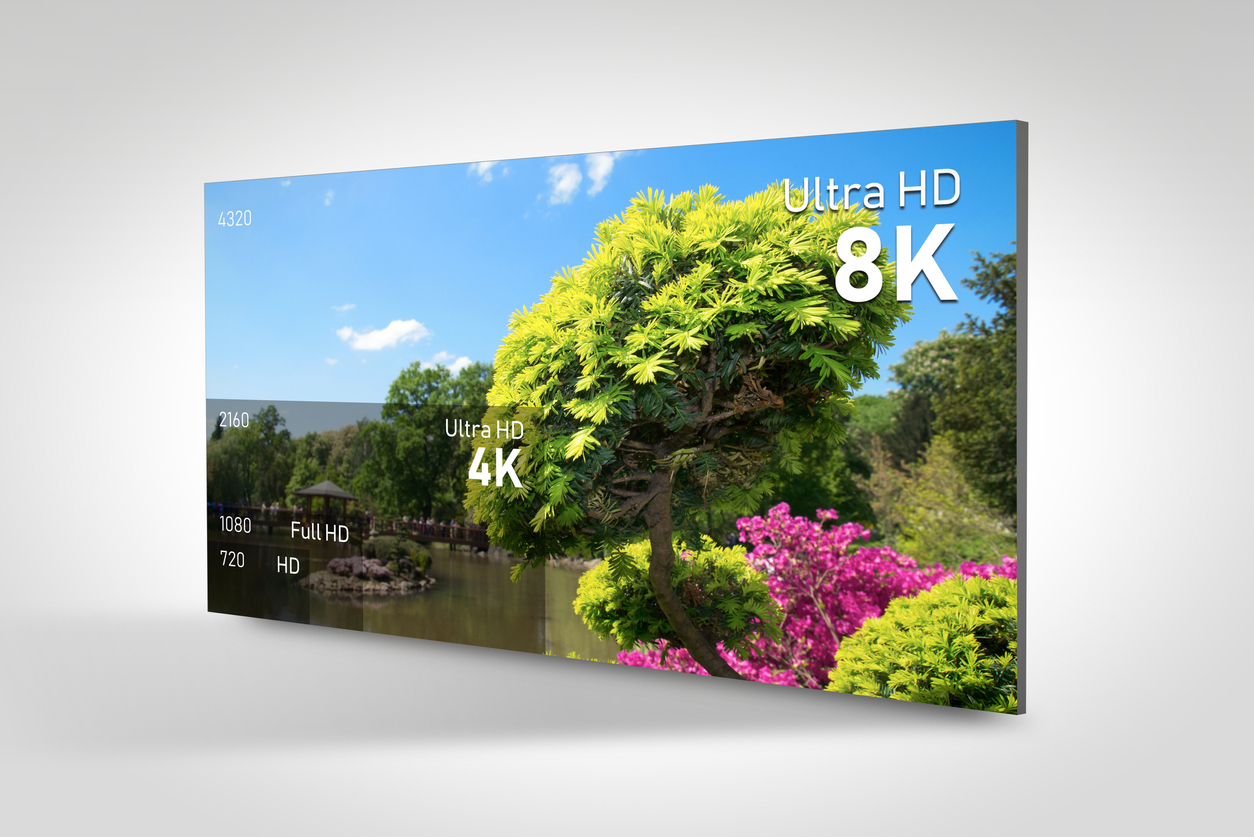 8K resolution display with comparison of resolutions. TV screen panel conceptual graphic.