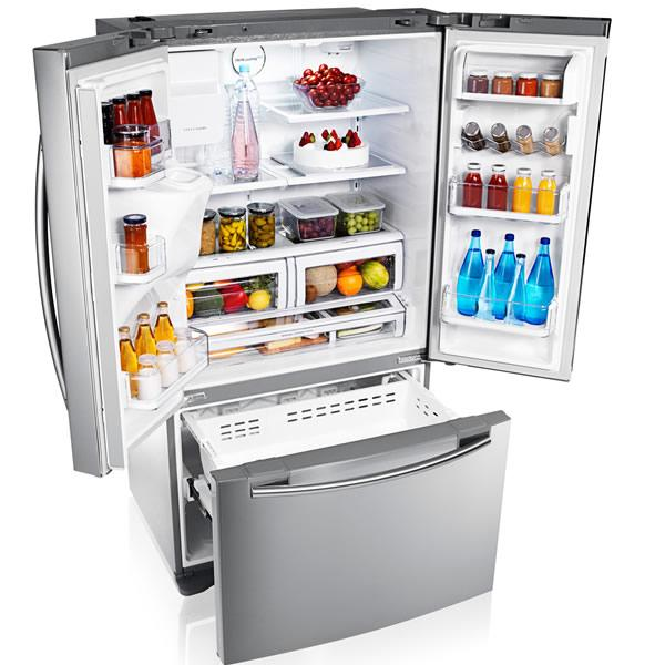 samsung rfg23uers 3 door american style fridge freezer with water and ice dispenser stainless. Black Bedroom Furniture Sets. Home Design Ideas