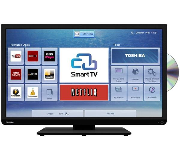 32 toshiba 32d3453db hd ready freeview hd smart led tv. Black Bedroom Furniture Sets. Home Design Ideas