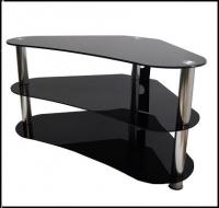 Glass TV Stand With Silver Legs for TV up to 42 inches