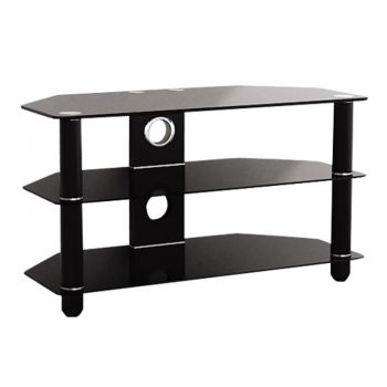 Three Tier Black Glass Stand for TVs upto 50 inches